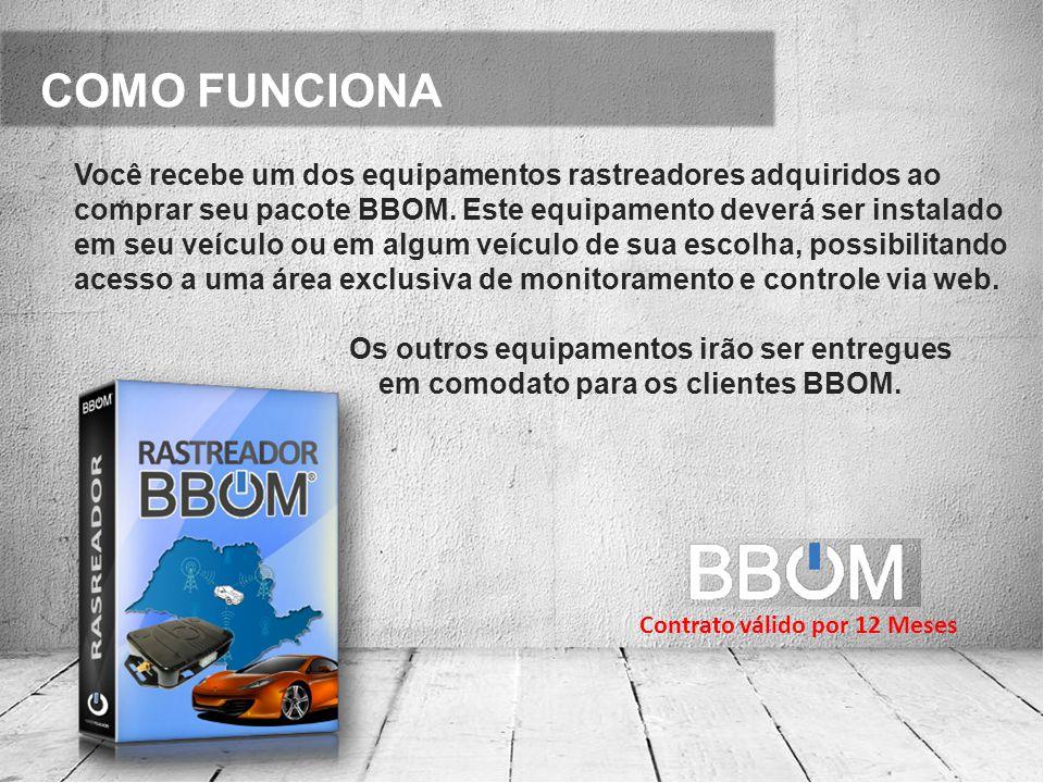 COMO FUNCIONA Você recebe um dos equipamentos rastreadores adquiridos ao comprar seu pacote BBOM.