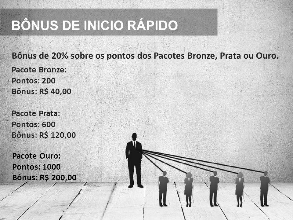 BÔNUS DE INICIO RÁPIDO Bônus de 20% sobre os pontos dos Pacotes Bronze, Prata ou Ouro. Pacote Bronze: Pontos: 200 Bônus: R$ 40,00 Pacote Prata: Pontos