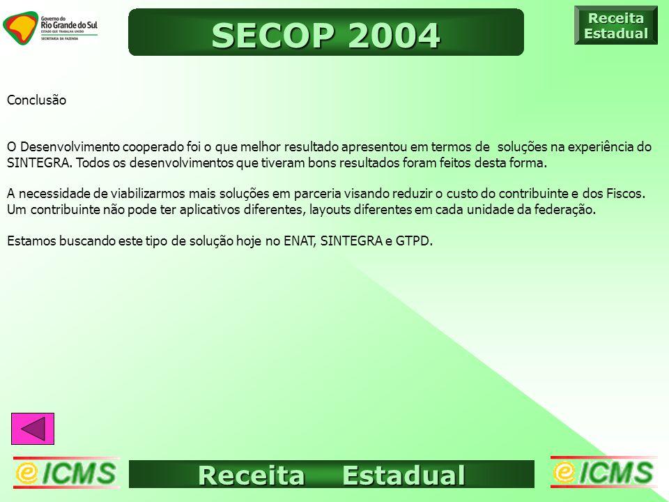 Receita Estadual ICMS ELETRÔNICO ReceitaEstadual SECOP 2004 Conclusão O Desenvolvimento cooperado foi o que melhor resultado apresentou em termos de soluções na experiência do SINTEGRA.