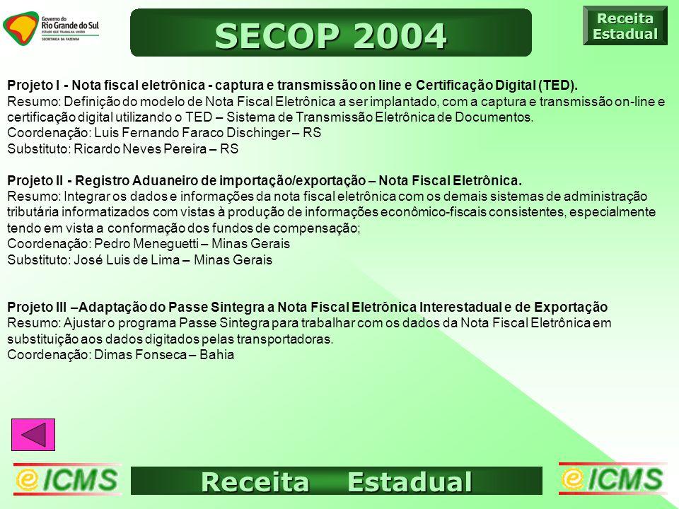 Receita Estadual ICMS ELETRÔNICO ReceitaEstadual SECOP 2004 Projeto I - Nota fiscal eletrônica - captura e transmissão on line e Certificação Digital (TED).