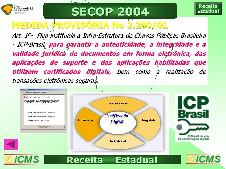 Receita Estadual ICMS ELETRÔNICO ReceitaEstadual SECOP 2004