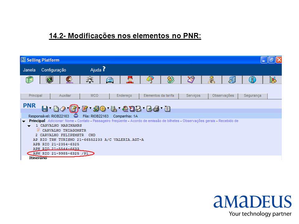 14.2- Modificações nos elementos no PNR: