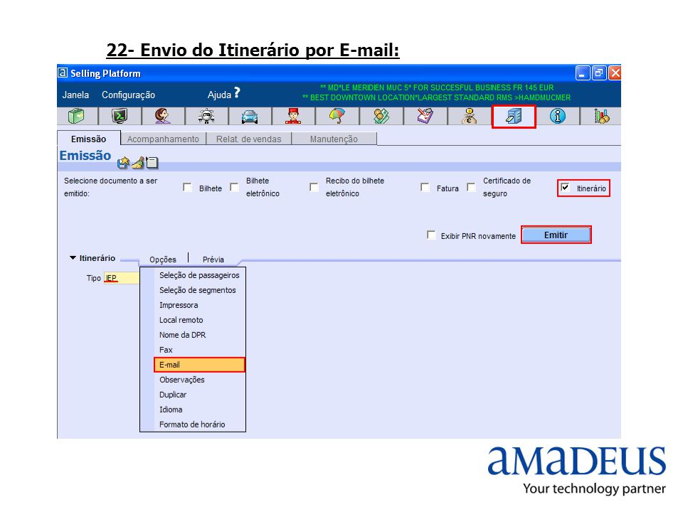 22- Envio do Itinerário por E-mail: