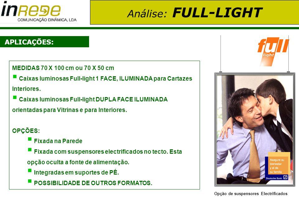 Análise: FULL-LIGHT APLICAÇÕES: Opção de suspensores Electrificados MEDIDAS 70 X 100 cm ou 70 X 50 cm Caixas luminosas Full-light 1 FACE, ILUMINADA pa