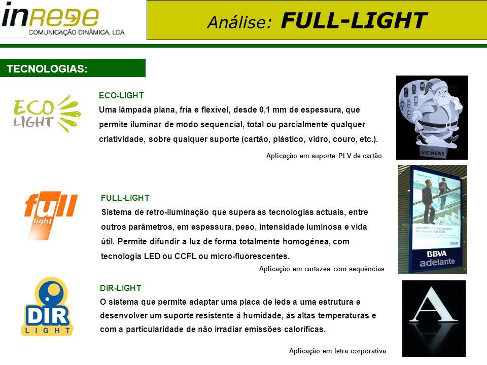 Análise: FULL-LIGHT TECNOLOGIAS: ECO-LIGHT Uma lâmpada plana, fria e flexível, desde 0,1 mm de espessura, que permite iluminar de modo sequencial, tot