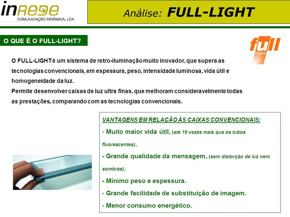Análise: FULL-LIGHT CARACTERÍSTICAS TÉCNICAS: Mínima espessura: desde 5 mm.