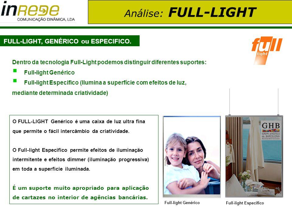 Análise: FULL-LIGHT FULL-LIGHT, GENÉRICO ou ESPECIFICO. O FULL-LIGHT Genérico é uma caixa de luz ultra fina que permite o fácil intercâmbio da criativ