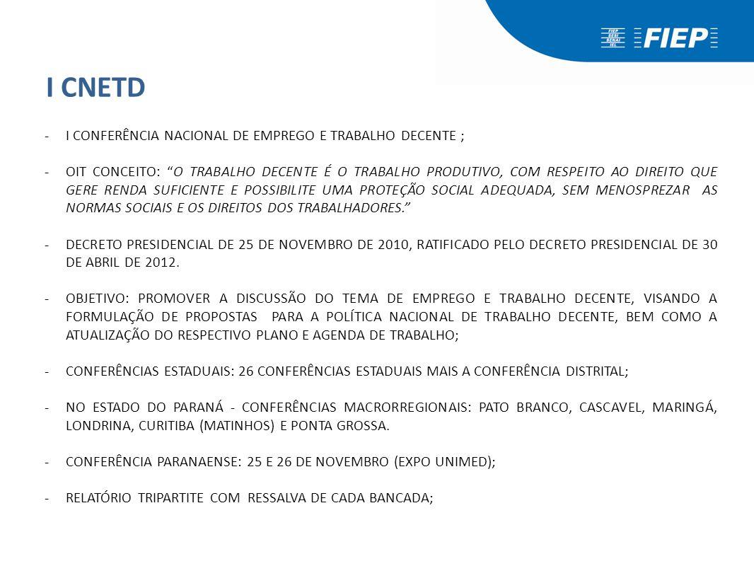 I CNETD -I CNTED: 08 A 11 DE AGOSTO DE 2012 EM BRASÍLIA; -1200 DELEGADOS; -DELEGADOS DA FIEP/CNI: JOÃO ALBERTO SOARES DE ANDRADE – MADEIRA CASCAVEL (FIEP); EDSON JOSÉ DE VASCONCELOS – SINDUSCON CASCAVEL (FIEP); LUIZ ANTÔNIO BORGES – METAL-PR (FIEP); PRISCILLA FÁTIMA CAETANO DE LIMA (CNI); -I CNETD: EM ASSEMBLEIA OS 180 DELEGADOS DO SETOR PRODUTIVO DECIDIRAM SUSPENDER A PARTICIPAÇÃO DESTA BANCADA NA CITADA CONFERÊNCIA.