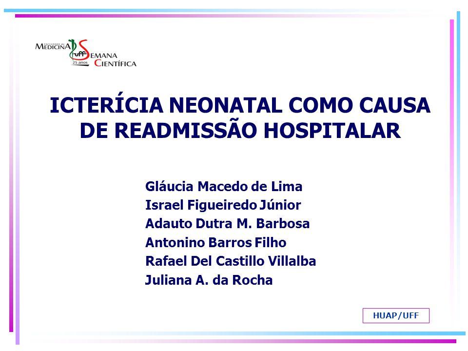 ICTERÍCIA NEONATAL COMO CAUSA DE READMISSÃO HOSPITALAR Gláucia Macedo de Lima Israel Figueiredo Júnior Adauto Dutra M. Barbosa Antonino Barros Filho R