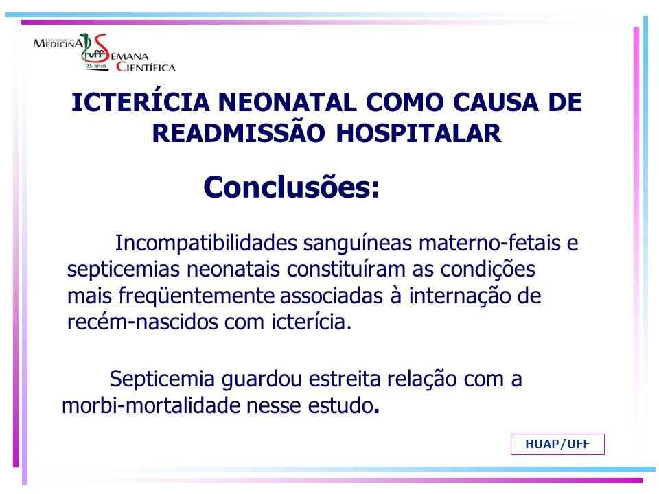 Incompatibilidades sanguíneas materno-fetais e septicemias neonatais constituíram as condições mais freqüentemente associadas à internação de recém-na