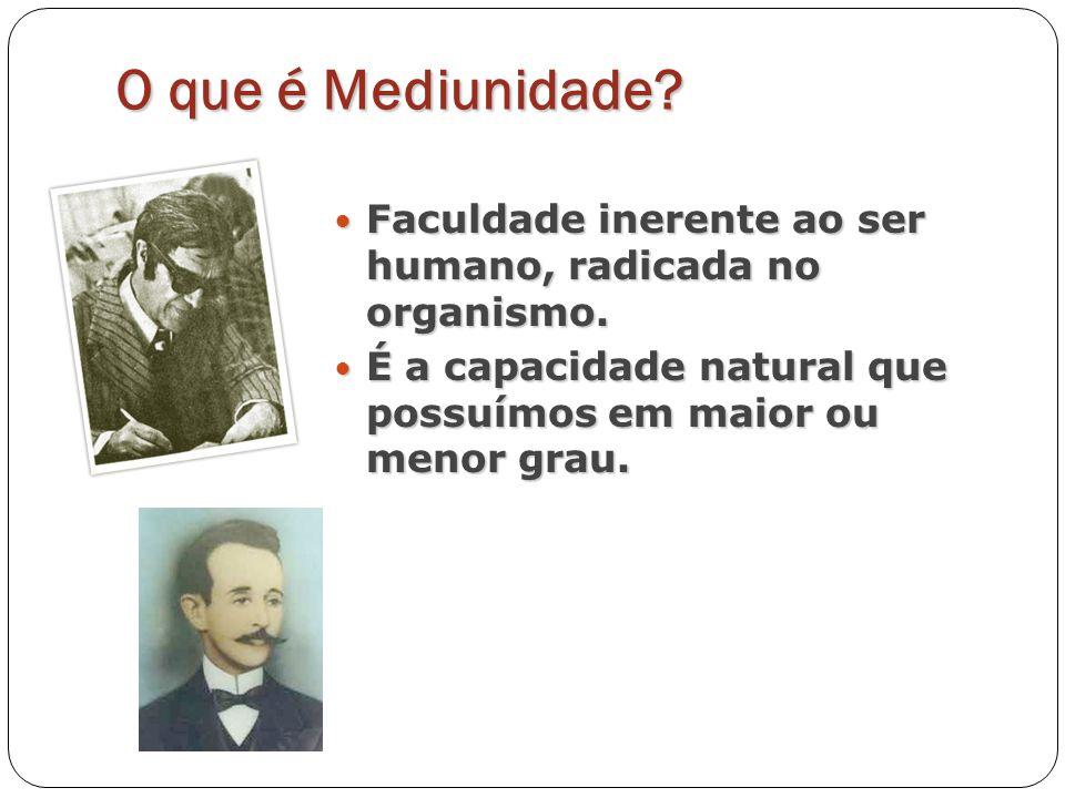 O que é Mediunidade? Faculdade inerente ao ser humano, radicada no organismo. Faculdade inerente ao ser humano, radicada no organismo. É a capacidade