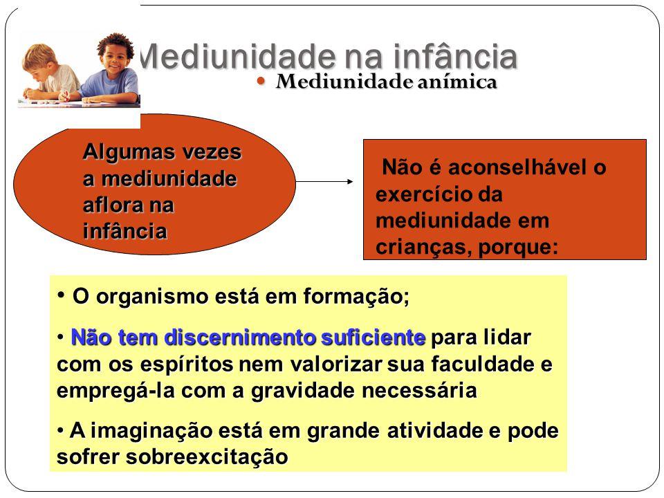 Mediunidade na infância Mediunidade anímica Mediunidade anímica Algumas vezes a mediunidade aflora na infância Não é aconselhável o exercício da mediu