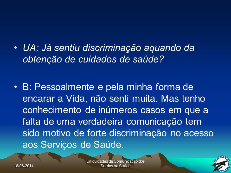 18-06-2014 Dificuldades de Comunicação dos Surdos na Saúde UA: Já sentiu discriminação aquando da obtenção de cuidados de saúde.