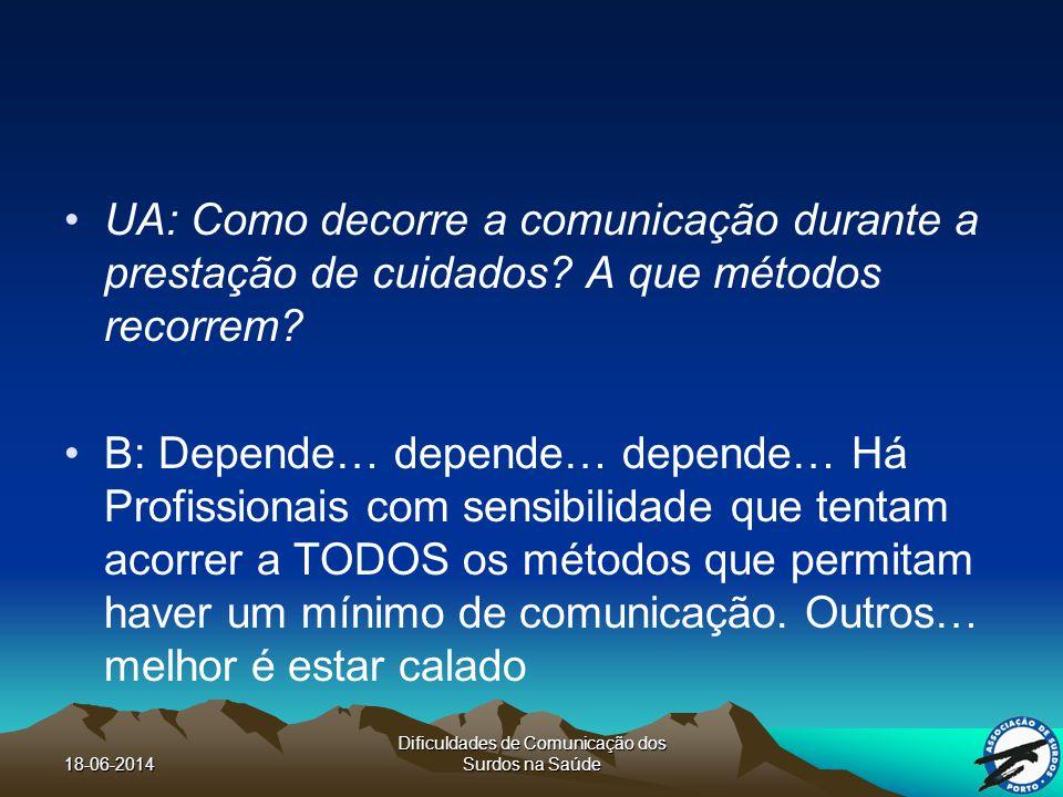18-06-2014 Dificuldades de Comunicação dos Surdos na Saúde UA: Como decorre a comunicação durante a prestação de cuidados.