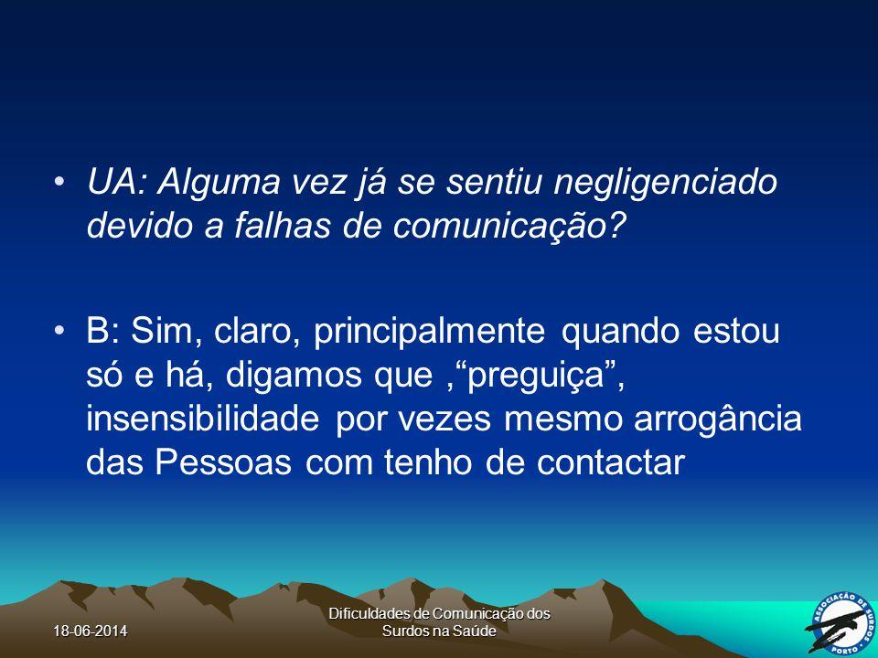 18-06-2014 Dificuldades de Comunicação dos Surdos na Saúde UA: Alguma vez já se sentiu negligenciado devido a falhas de comunicação.