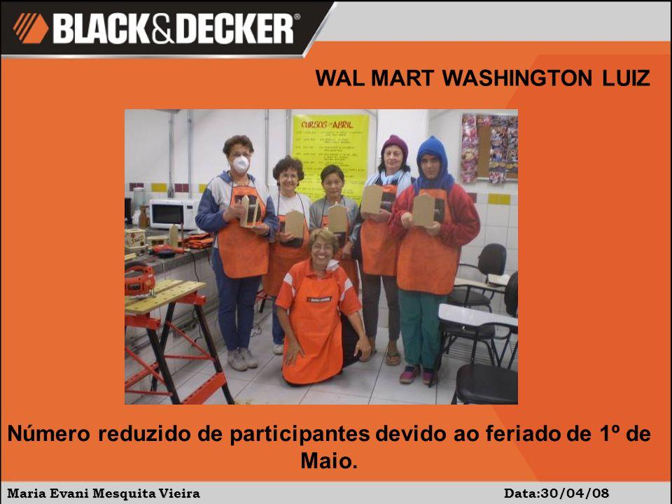 Maria Evani Mesquita Vieira Data:30/04/08 WAL MART WASHINGTON LUIZ Número reduzido de participantes devido ao feriado de 1º de Maio.
