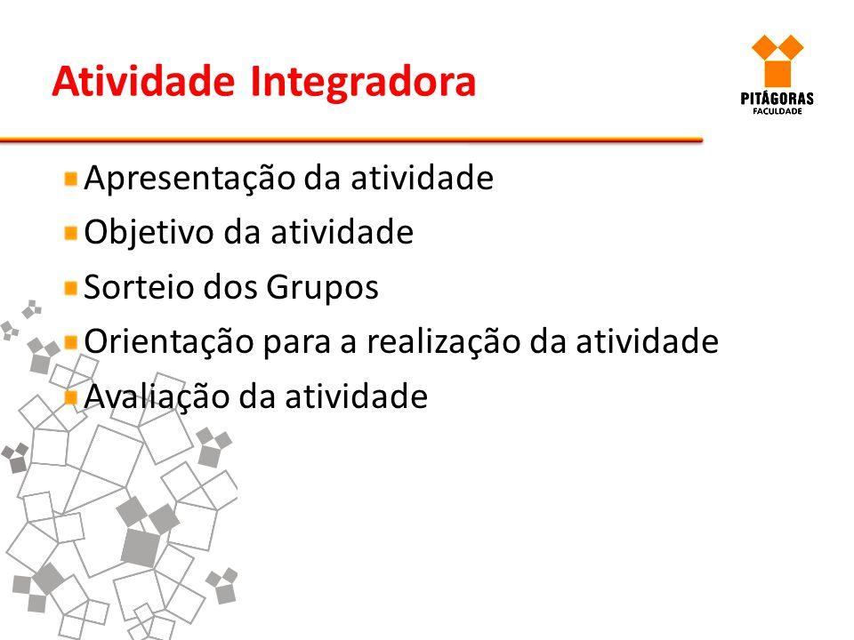 Atividade Integradora Apresentação da atividade Objetivo da atividade Sorteio dos Grupos Orientação para a realização da atividade Avaliação da ativid