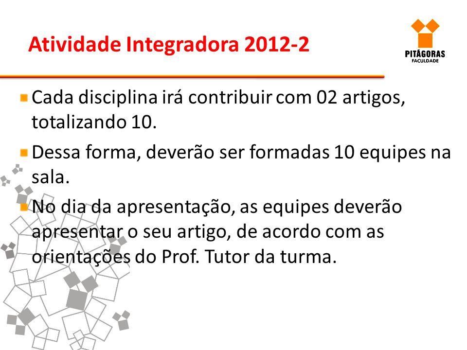 Atividade Integradora 2012-2 Cada disciplina irá contribuir com 02 artigos, totalizando 10. Dessa forma, deverão ser formadas 10 equipes na sala. No d