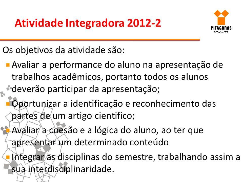 Atividade Integradora 2012-2 Os objetivos da atividade são: Avaliar a performance do aluno na apresentação de trabalhos acadêmicos, portanto todos os