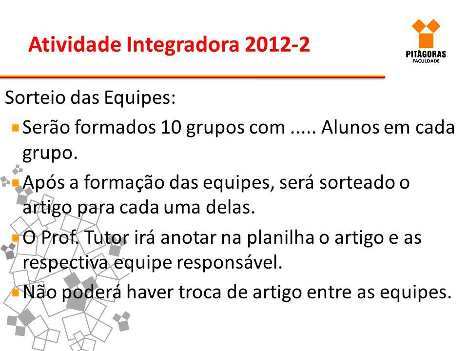 Atividade Integradora 2012-2 Sorteio das Equipes: Serão formados 10 grupos com..... Alunos em cada grupo. Após a formação das equipes, será sorteado o
