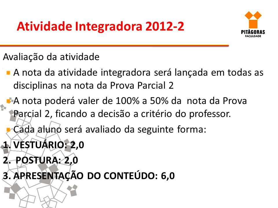 Atividade Integradora 2012-2 Avaliação da atividade A nota da atividade integradora será lançada em todas as disciplinas na nota da Prova Parcial 2 A