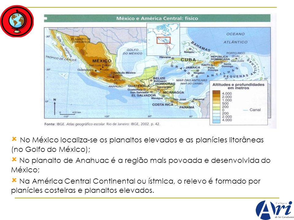 No México localiza-se os planaltos elevados e as planícies litorâneas (no Golfo do México); No planalto de Anahuac é a região mais povoada e desenvolv