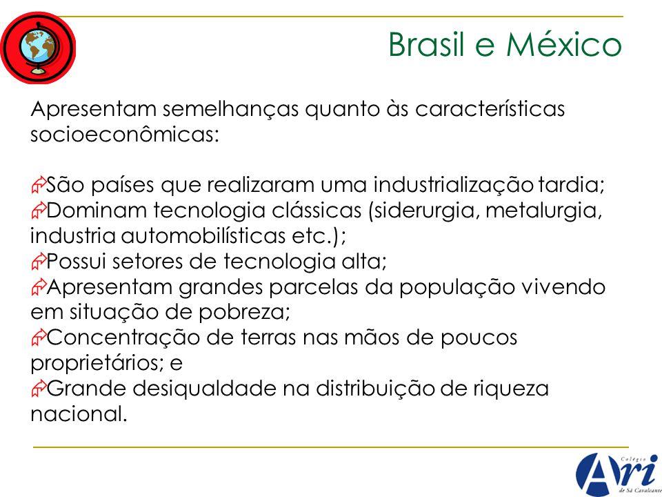 Brasil e México Apresentam semelhanças quanto às características socioeconômicas: São países que realizaram uma industrialização tardia; Dominam tecno