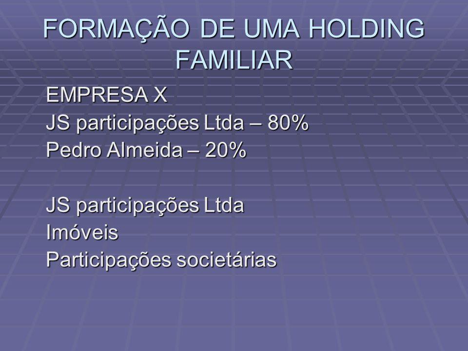 FORMAÇÃO DE UMA HOLDING FAMILIAR EMPRESA X EMPRESA X JS participações Ltda – 80% Pedro Almeida – 20% JS participações Ltda Imóveis Participações societárias