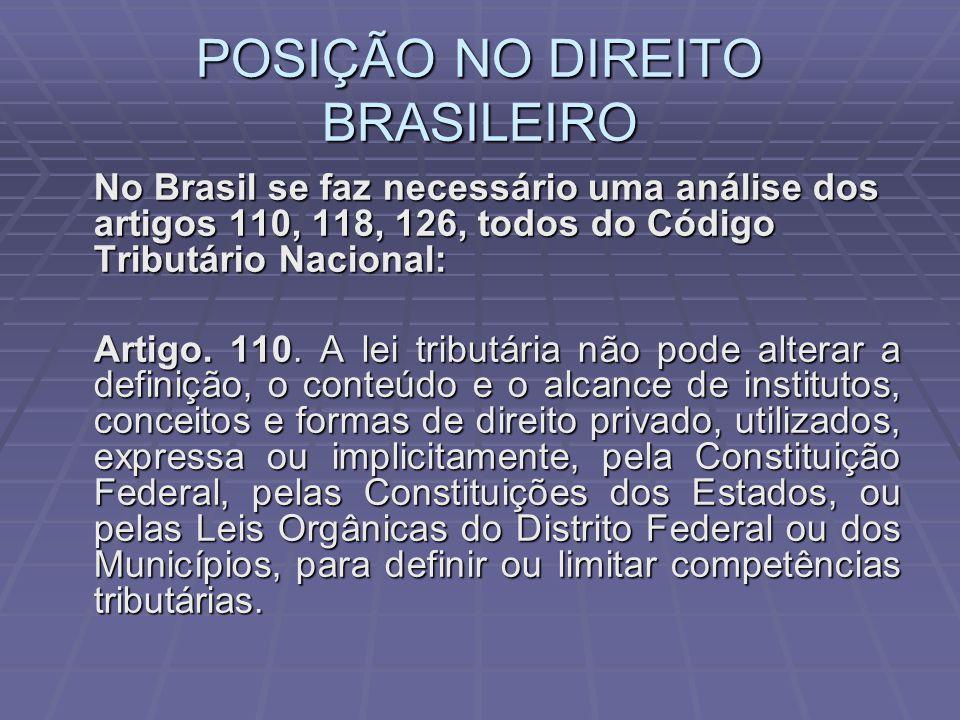 POSIÇÃO NO DIREITO BRASILEIRO No Brasil se faz necessário uma análise dos artigos 110, 118, 126, todos do Código Tributário Nacional: Artigo.