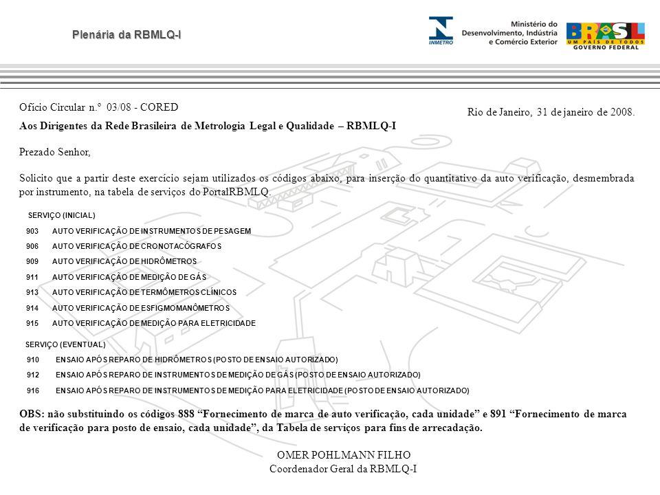 Plenária da RBMLQ-I Ofício Circular n.º 03/08 - CORED Rio de Janeiro, 31 de janeiro de 2008. Aos Dirigentes da Rede Brasileira de Metrologia Legal e Q