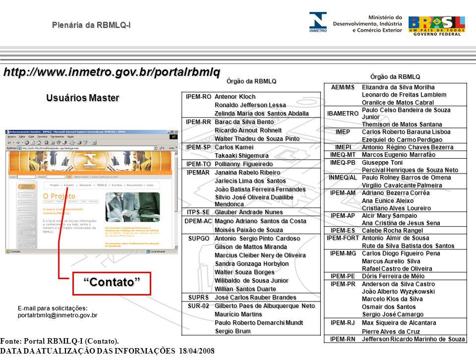 Plenária da RBMLQ-I Fonte: Portal RBMLQ-I (Contato). DATA DA ATUALIZAÇÃO DAS INFORMAÇÕES 18/04/2008 E-mail para solicitações: portalrbmlq@inmetro.gov.