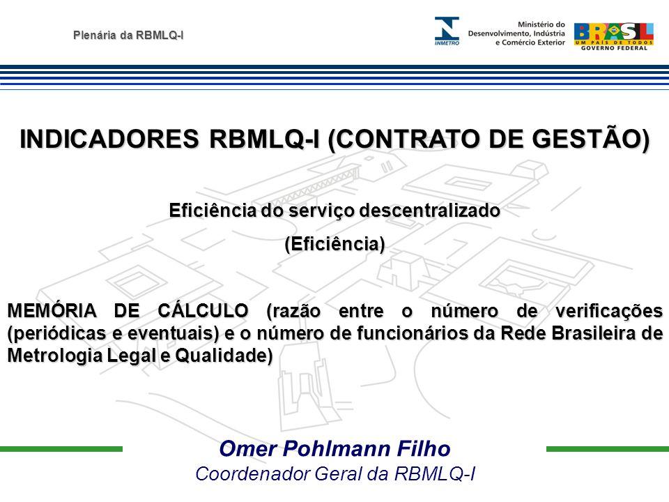 Plenária da RBMLQ-I Omer Pohlmann Filho Coordenador Geral da RBMLQ-I INDICADORES RBMLQ-I (CONTRATO DE GESTÃO) Eficiência do serviço descentralizado (E