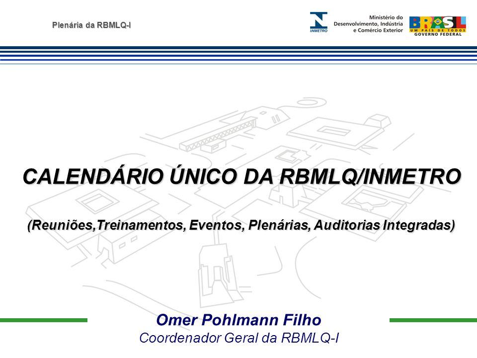 Plenária da RBMLQ-I Omer Pohlmann Filho Coordenador Geral da RBMLQ-I CALENDÁRIO ÚNICO DA RBMLQ/INMETRO (Reuniões,Treinamentos, Eventos, Plenárias, Aud