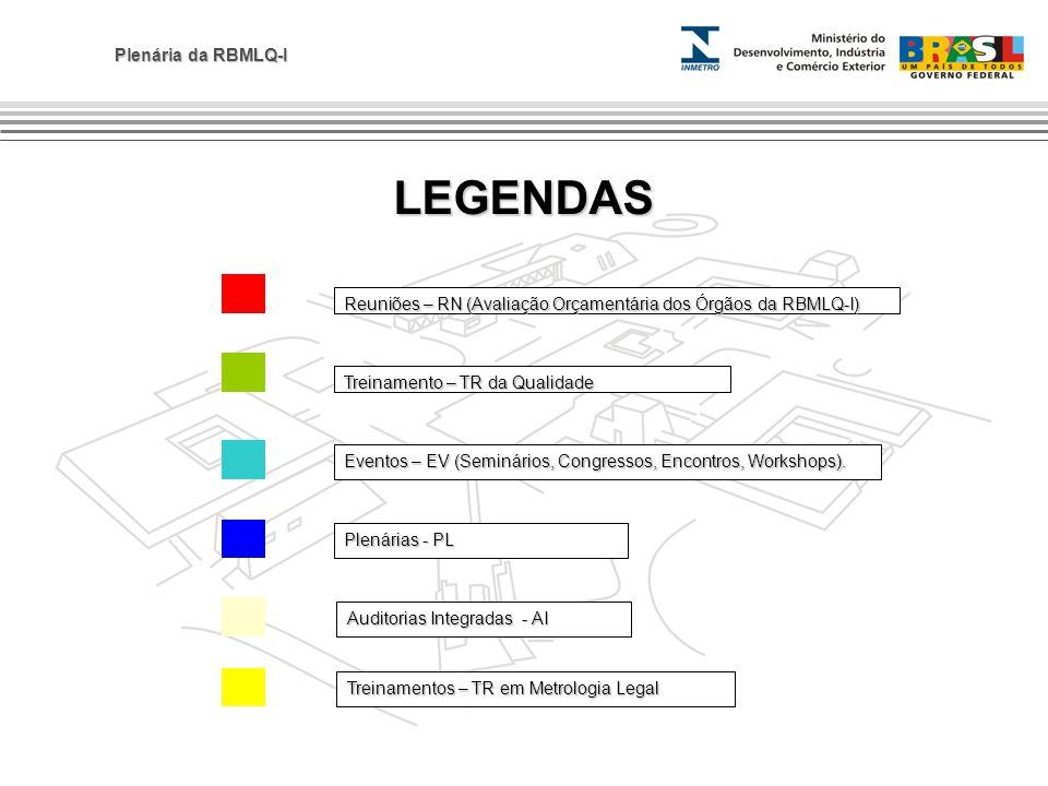 Plenária da RBMLQ-I LEGENDAS Plenárias - PL Auditorias Integradas - AI Eventos – EV (Seminários, Congressos, Encontros, Workshops). Reuniões – RN (Ava