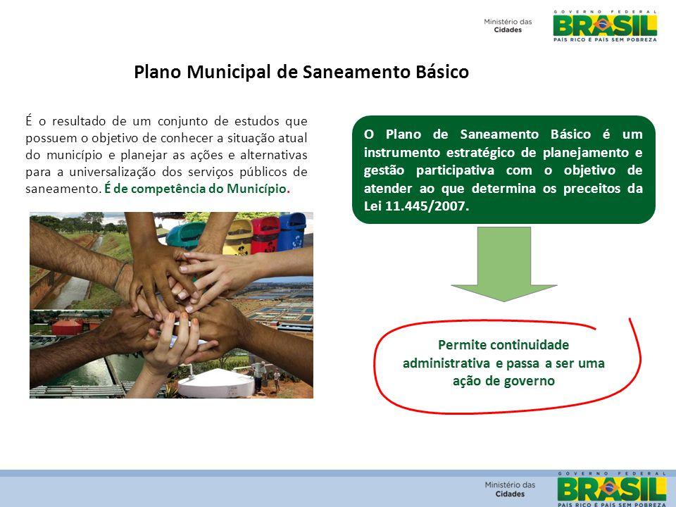 Plano Municipal de Saneamento Básico É o resultado de um conjunto de estudos que possuem o objetivo de conhecer a situação atual do município e planej