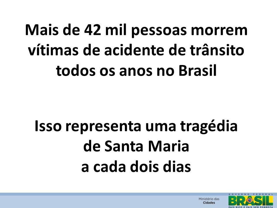 Mais de 42 mil pessoas morrem vítimas de acidente de trânsito todos os anos no Brasil Isso representa uma tragédia de Santa Maria a cada dois dias