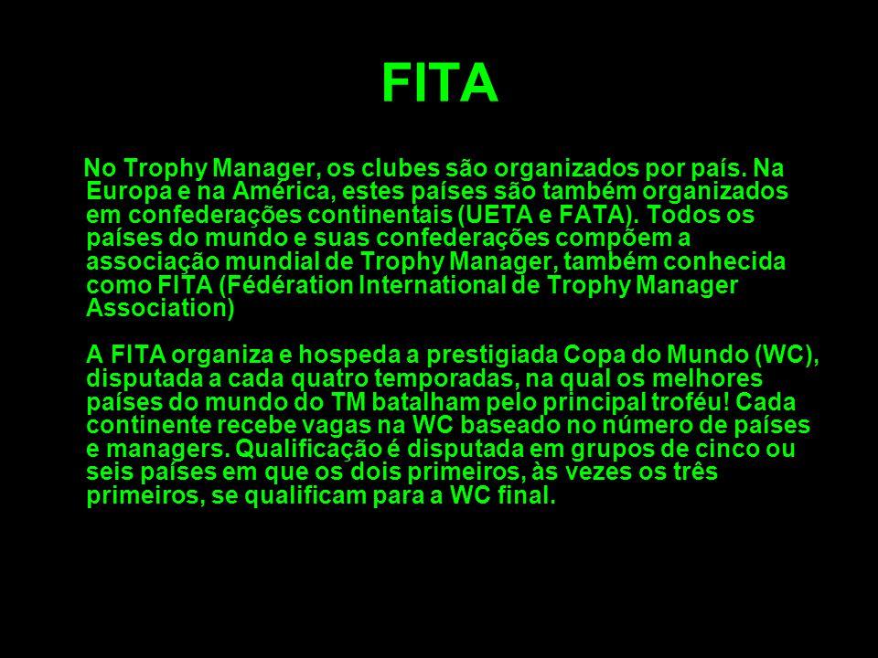 FITA No Trophy Manager, os clubes são organizados por país. Na Europa e na América, estes países são também organizados em confederações continentais
