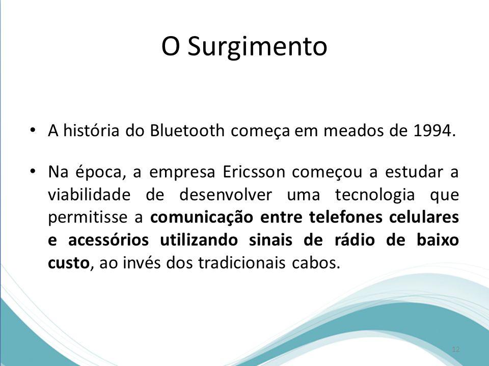 O Surgimento A história do Bluetooth começa em meados de 1994. Na época, a empresa Ericsson começou a estudar a viabilidade de desenvolver uma tecnolo