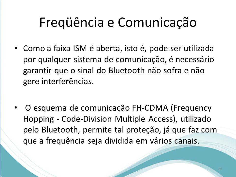 Freqüência e Comunicação Como a faixa ISM é aberta, isto é, pode ser utilizada por qualquer sistema de comunicação, é necessário garantir que o sinal