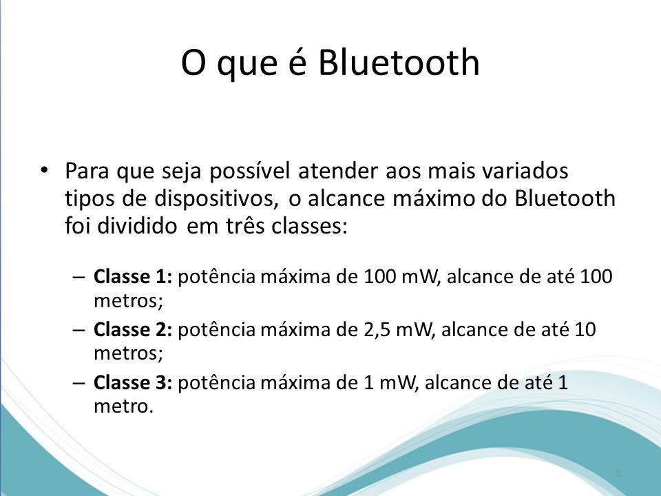 O que é Bluetooth Para que seja possível atender aos mais variados tipos de dispositivos, o alcance máximo do Bluetooth foi dividido em três classes: