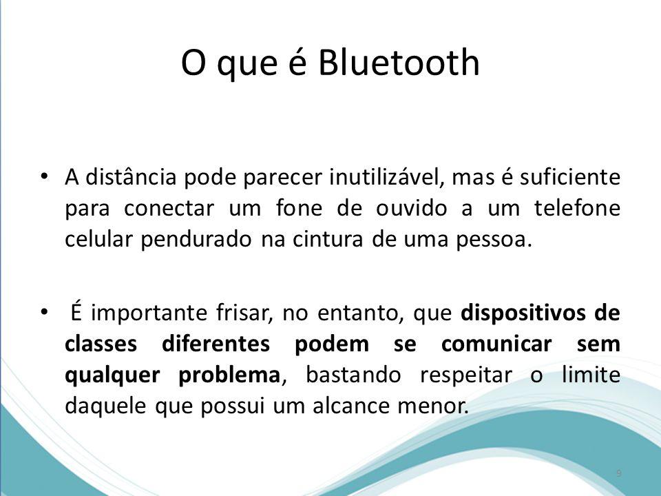 O que é Bluetooth Versão do BluetoothTaxa máxima de transmissão 1.21 Mbps 2.03 Mbps 3.024 Mbps 10