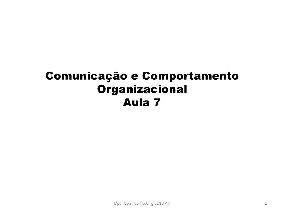 Comunicação e Comportamento Organizacional Aula 7 1Dps. Com.Comp.Org 2013 A7