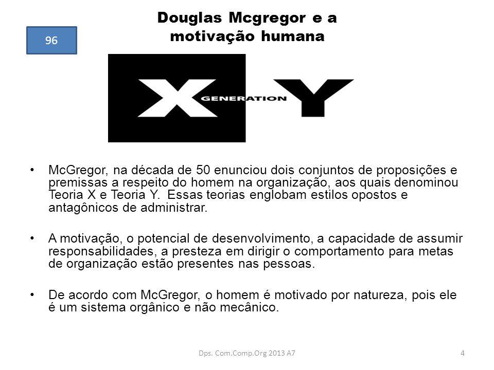Douglas Mcgregor e a motivação humana McGregor, na década de 50 enunciou dois conjuntos de proposições e premissas a respeito do homem na organização,