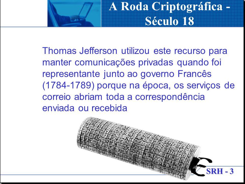SRH - 3 A Roda Criptográfica - Século 18 Thomas Jefferson utilizou este recurso para manter comunicações privadas quando foi representante junto ao go