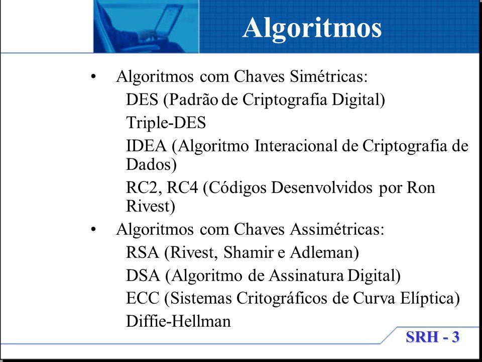 SRH - 3 Algoritmos Algoritmos com Chaves Simétricas: DES (Padrão de Criptografia Digital) Triple-DES IDEA (Algoritmo Interacional de Criptografia de D