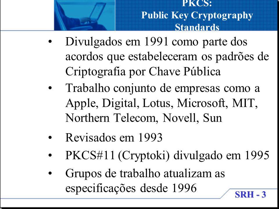 SRH - 3 PKCS: Public Key Cryptography Standards Divulgados em 1991 como parte dos acordos que estabeleceram os padrões de Criptografia por Chave Públi
