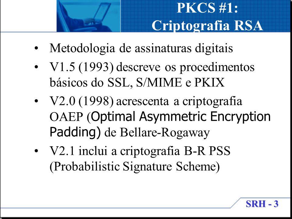 SRH - 3 PKCS #1: Criptografia RSA Metodologia de assinaturas digitais V1.5 (1993) descreve os procedimentos básicos do SSL, S/MIME e PKIX V2.0 (1998)