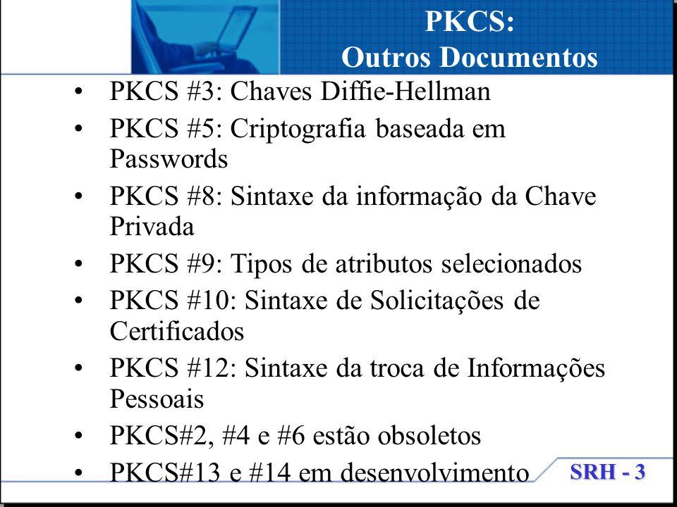 SRH - 3 PKCS: Outros Documentos PKCS #3: Chaves Diffie-Hellman PKCS #5: Criptografia baseada em Passwords PKCS #8: Sintaxe da informação da Chave Priv