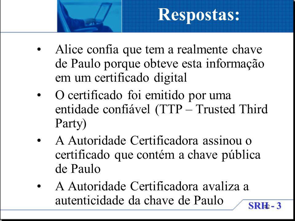 SRH - 3 42 Alice confia que tem a realmente chave de Paulo porque obteve esta informação em um certificado digital O certificado foi emitido por uma e