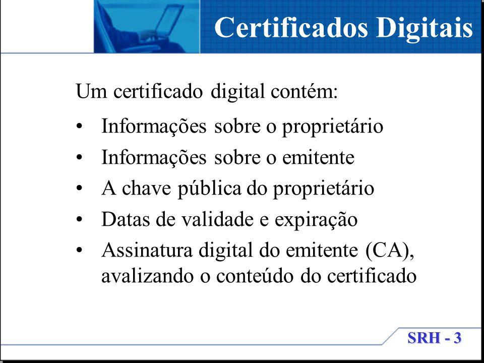 SRH - 3 Certificados Digitais Um certificado digital contém: Informações sobre o proprietário Informações sobre o emitente A chave pública do propriet